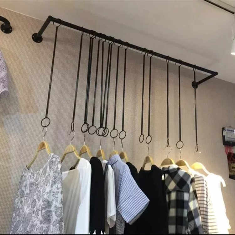 Mostrando suporte cabides loja de roupas arte de ferro para homem e mulher exibir prateleiras anel pendurado pano rack parede cabide cabides