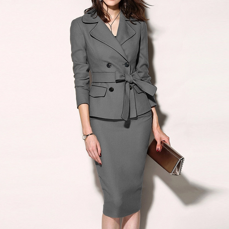 BacklakeGirls 2 Pieces Business Elegant Office Dress Lady Work Blazer + Skirt Long Sleeve Suit Dress Vintage Vestidos Plus Size