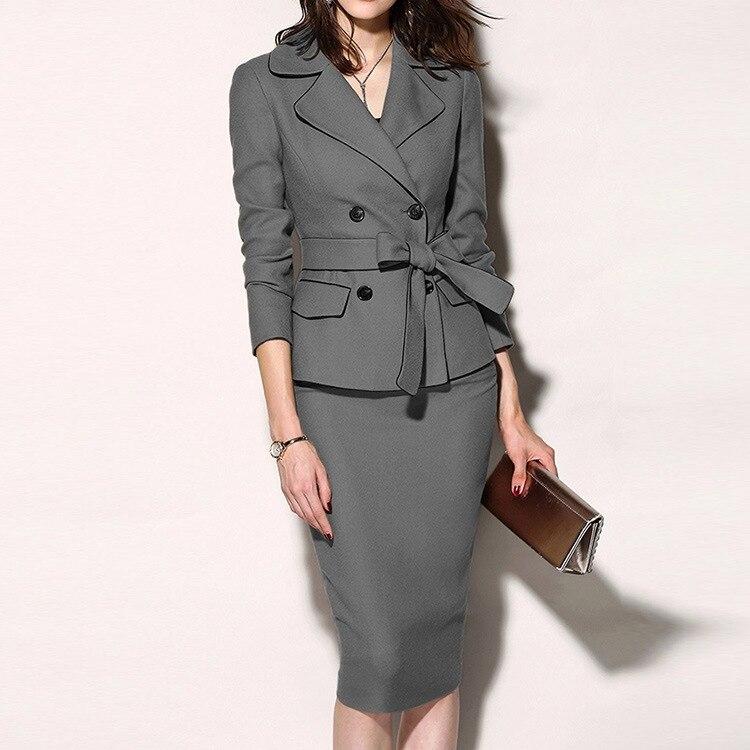 Backlakegirls 2 peças de negócios elegante escritório vestido senhora trabalho blazer + saia manga longa terno vestido do vintage vestidos mais tamanho