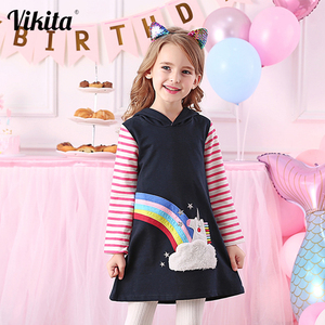 VIKITA Toddlers Unicorn Embroidery Dresses Girl Hoodies Dress for Kids Tops Clothes Autumn Winter Kids Long Sleeve Hoody Dresses