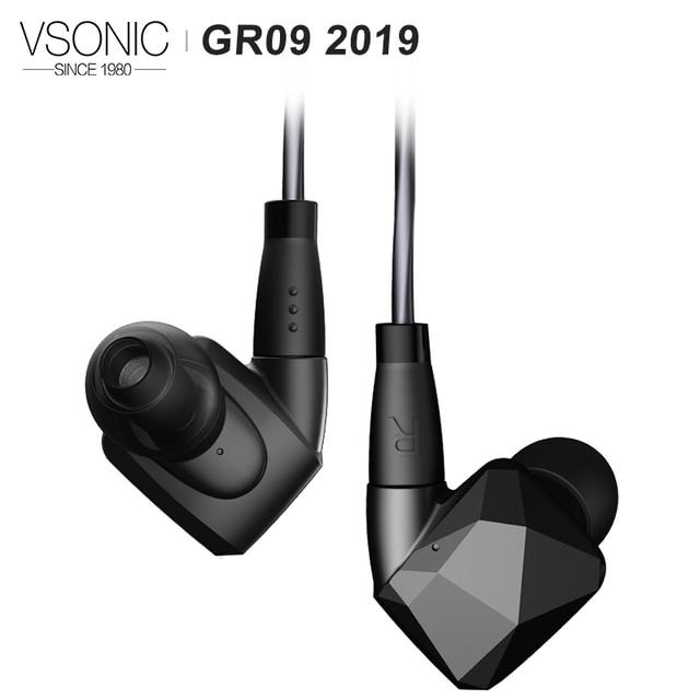 VSONIC GR09 2019 גרסה HIFI אודיו דינמי נהג מקצועי רעש בידוד אוזניות בתוך האוזן עם MMCX להסרה כבל