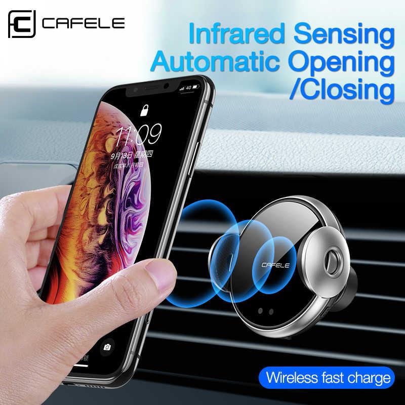 Cafele 10 واط شاحن سيارة لاسلكية للهاتف في سيارة شاحن لاسلكي ذكي الأشعة تحت الحمراء سريع لاسلكي شاحن سيارة شاحن الهاتف