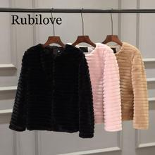 Rubilove Furry Fur Coat Women Fluffy Keep Warm Long Sleeve solid Color Outerwear Autumn Winter Jacket round Collar Overcoat