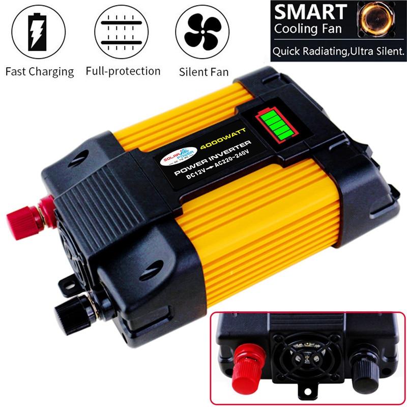 4000W Power Inverter Solar Car Boat Inverters Converter DC 12V To AC 220V USB Charger Wave Inverters SolarInverter 220v