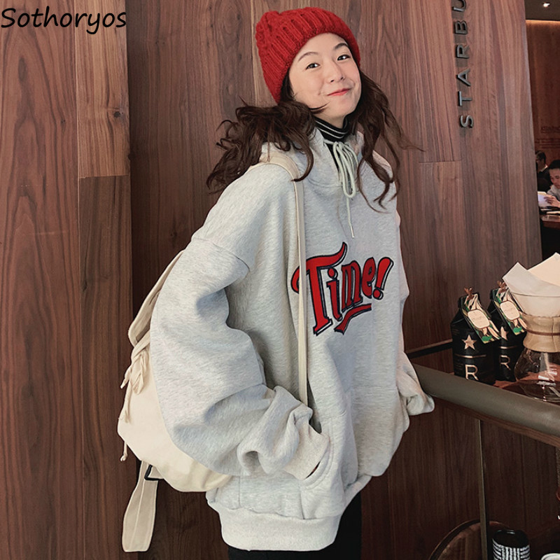 Hoodies Women Letter 2020 Oversize Thicker Winter Students Pocket Hooded Couple Harjauku Streetwear Womens Pullover Leisure Gray
