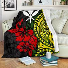 Полинезийские узоры с цветами гибискуса 3d печатным шерпа одеяло