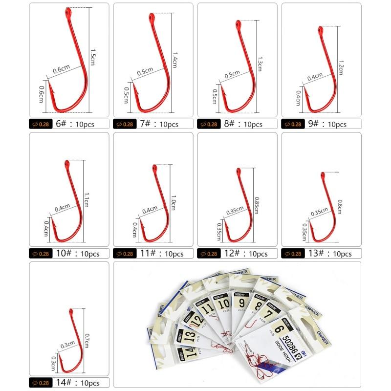 10pcs/set Red Fishing Hook  6#-14#Barbed Fishhook Bent Baitholder Fly Fishing Tackle  Sharp Ringed Carp Hook