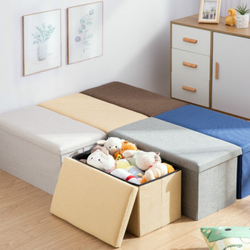 Storage Pouf Rectangular Stools Foldable Storage Sofa Pouf Home Storage Boxes Change Shoes Stool High Capacity Ottoman