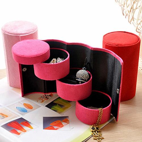 Hot Portable 3 Tiers Compartment Cylinder Lint Roll Up Jewelry Rings/Earrings Box Case  New 4 Colors Jewelry Box Women Necklace
