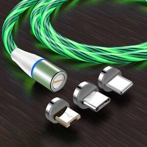 Image 1 - Câble magnétique 3A Usb Micro et Type C pour recharge rapide et données, éclairage lumineux, compatible avec iphone 11 XS Xiaomi