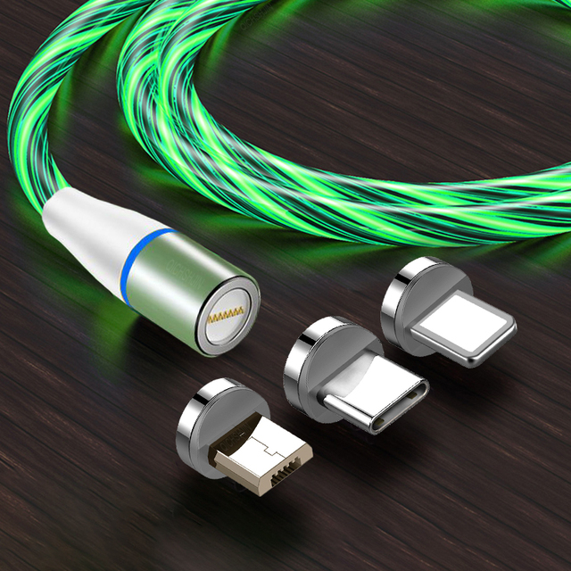 Câble magnétique 3A Usb Micro et Type C pour recharge rapide et données, éclairage lumineux, compatible avec iphone 11 XS Xiaomi