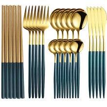 Juego de cubiertos de acero inoxidable para cena, juego de cubiertos de oro rosa cubierto para mesa de cocina, cucharas y tenedores