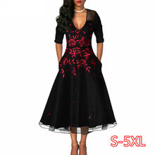 Summer Autumn Dress Women 2020 Elegant Sexy V Neck Embroidery Long Party Dress Casual Plus Size 5XL Slim Ball Gown Maxi Dresses(China)