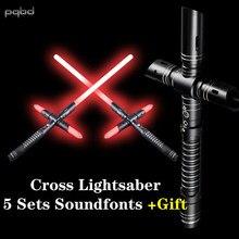 Pqbd cruz sabre de luz cabo metal pesado duelagem 5 conjuntos soundfonts fx força foc blaster espada laser cosplay crianças presente