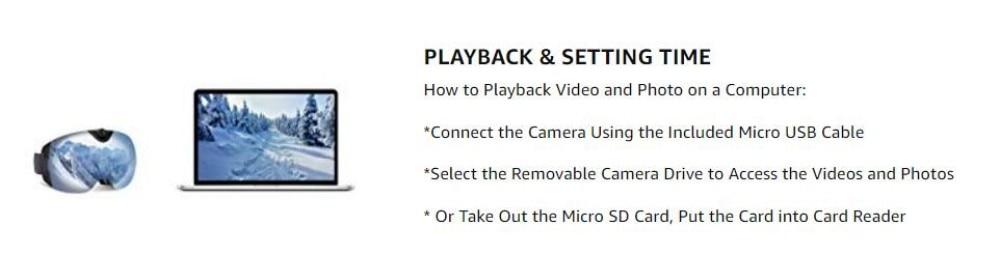4K Ultra  Video Ski-Sunglass Goggles Camera with Super 1080P 60fps Video Recording Anti-Fog Snowboard UV400 Protection Lens_10