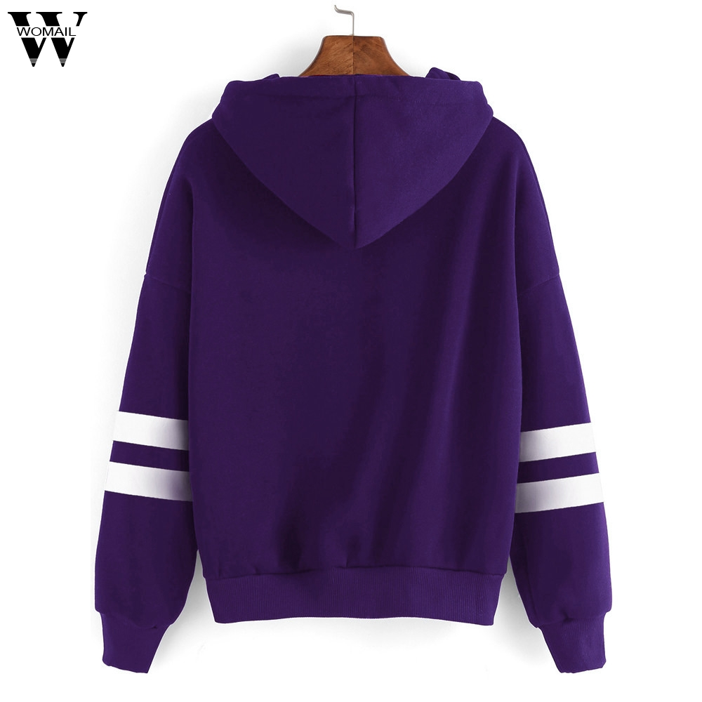 Womail Women Sweatshirt Womens Long Sleeve Hoodie Sweatshirt Jumper Hooded Pullover Tops Women's Sweatshirt S-XL
