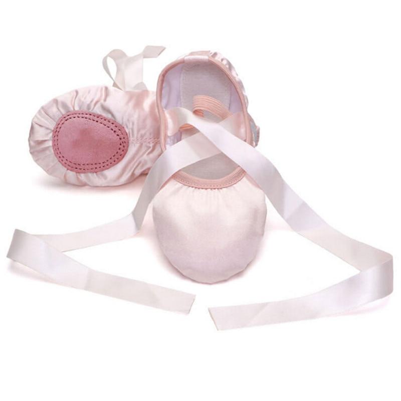 Ragazze di arrivo Del Bambino di Colore Rosa Viola Albicocca Rosso Solido di Tela Ballet Dance Shoes split in pelle scamosciata suola scarpe Per Bambini