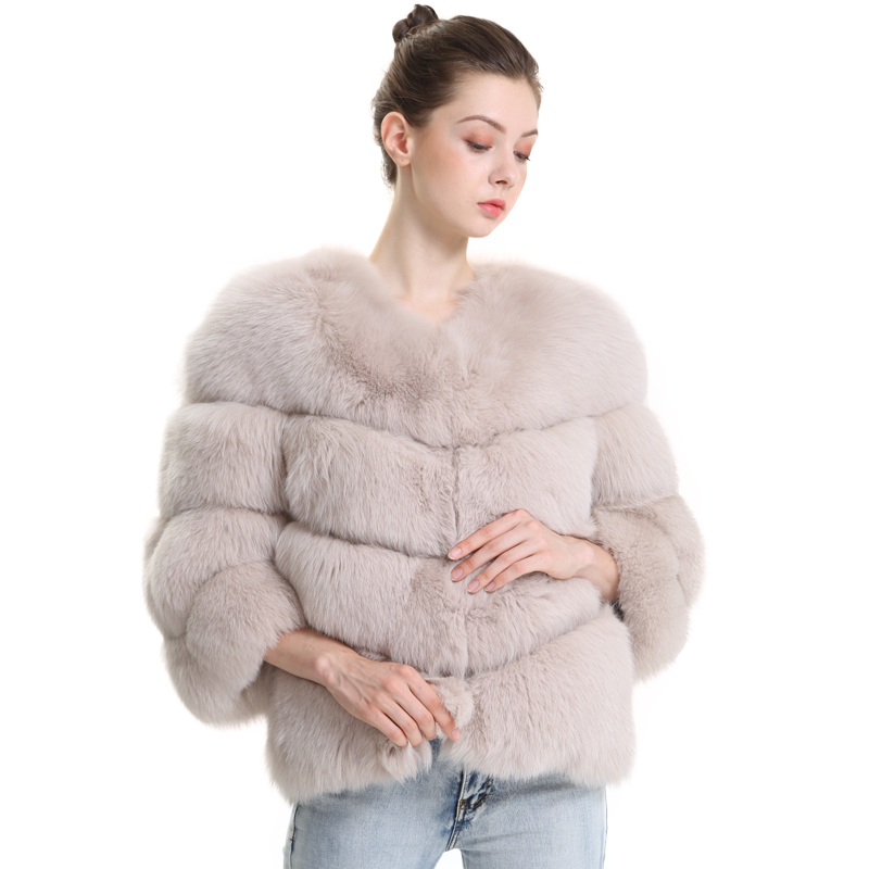 New Winter Real Fur Coat Women Genuine Fox Fur Jacket Ladies Overcoat Natural Fox Fur Coats