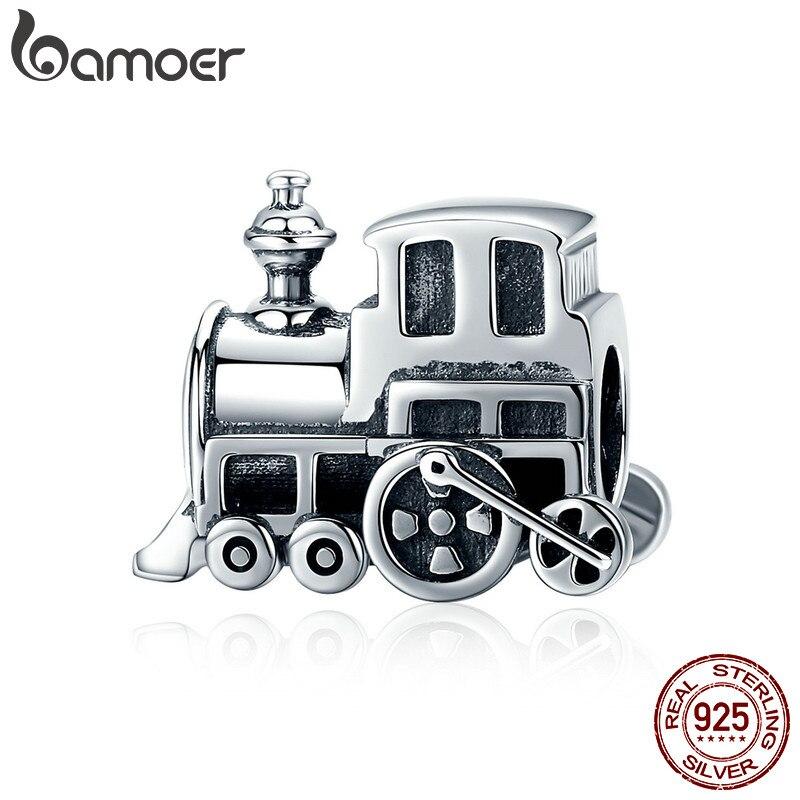 Bamoer 100% real 925 prata esterlina locomotiva do vintage trem carro charme ajuste feminino charme pulseira diy jóias fazendo scc507