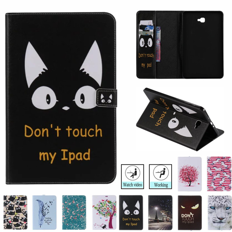 Fashion Cat Painted Case Cover For <font><b>Samsung</b></font> <font><b>Galaxy</b></font> <font><b>Tab</b></font> <font><b>A</b></font> A6 <font><b>10.1</b></font> 2016 <font><b>T580</b></font> T587 SM-T585 Case <font><b>Funda</b></font> <font><b>Tablet</b></font> Stand Capa Skin Shell image