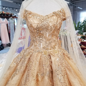 Image 5 - LS21447 golden sexy off shoulder wedding gown 2018 with long veil v neck lace up champagne bridal wedding dress free shipping