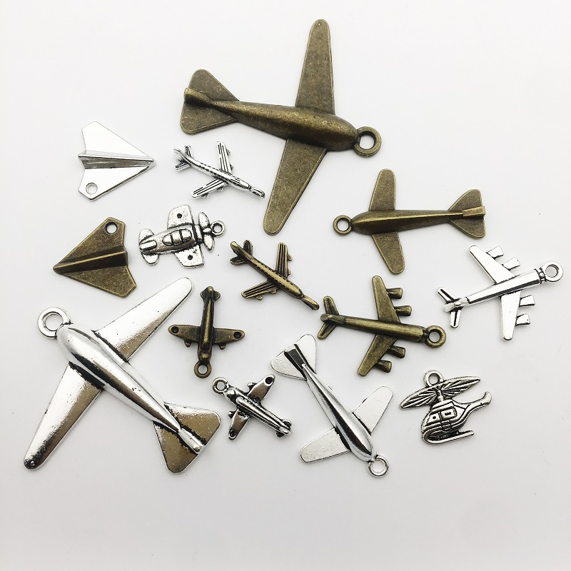 40 pcs Craft Supplies Antique Silver Bronze Paper Airplane Metal Pendants for Jewelry Making DIY Findings Necklace Bracelet