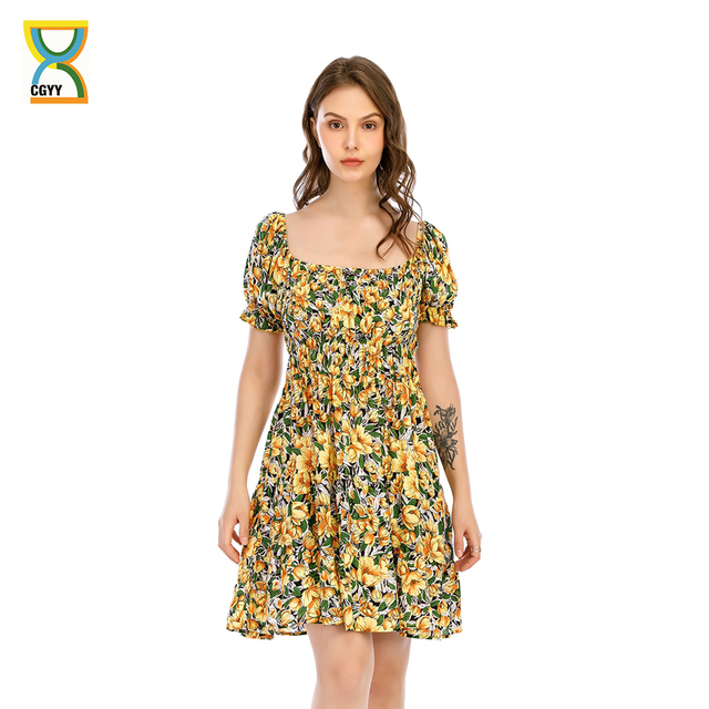 CGYY Sexy Summer Ruched Dress 2021 Ladies Square Neck Floral Beach Sarongs Women Boho Ruffle Sleeve Knitted Vestido 1
