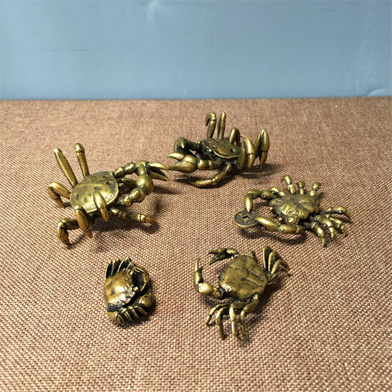 2 small Mud Crab Statue Brass Home Decoration 15 cm decor decoration hand made table diplay 6 inch x 3 claw seaside beach