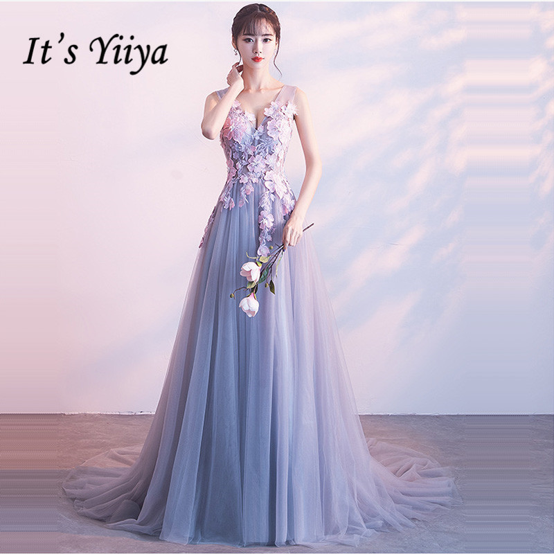It's Yiiya Bridesmaid Dress V-Neck A-Line Court Train Plus Size Robe Demoiselle D Honneur Appliques Bridesmaid Dress Gown K381