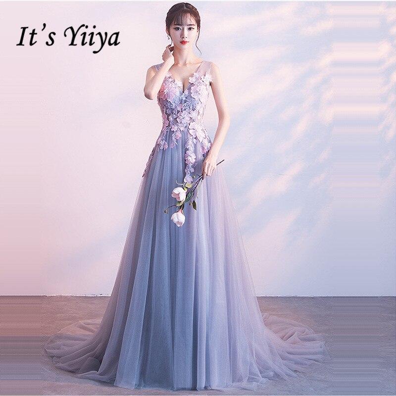 It's Yiiya Bridesmaid Dress V-Neck A-Line Court Train Plus Size Robe Demoiselle D Honneur Appliques Bridesmaid Dress Gown K381