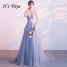 It's Yiiya Bridesmaid Dress V-Neck A-Line Court Train Plus S