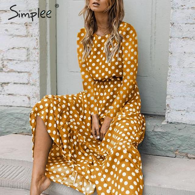 Simplee elegante polka dots maxi vestido bohemio a line cuello redondo Vestido largo de fiesta Ruffled Ropa de Trabajo chic otoño vestidos largos de noche