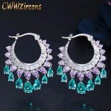 CWWZircons Elegant Purple Blue CZ Crystal Dangle Water Drop Tassel Hoop Earrings Fashion Bridal Wedding Boho Jewelry CZ741