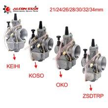 Alconstar  21 24 26 28 30 32 34 millimetri di trasporto Del Motociclo Carburatore con Power Jet per Keihin PWK KOSO OKO 75CC 250CC 2T/4T Motore per KTM