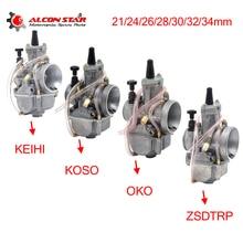 Alconstar  21 24 26 28 30 32 34mm אופנוע קרבורטור עם כוח Jet עבור Keihin PWK KOSO OKO 75CC 250CC 2T/4T מנוע עבור KTM
