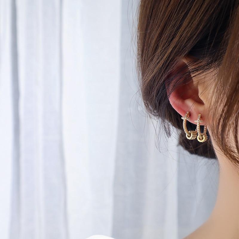 14k or véritable luxe Super brillant boucles d'oreilles boucle de haute qualité délicate AAA Zircon cercle boucle d'oreille bijoux pendentif accessoires 2