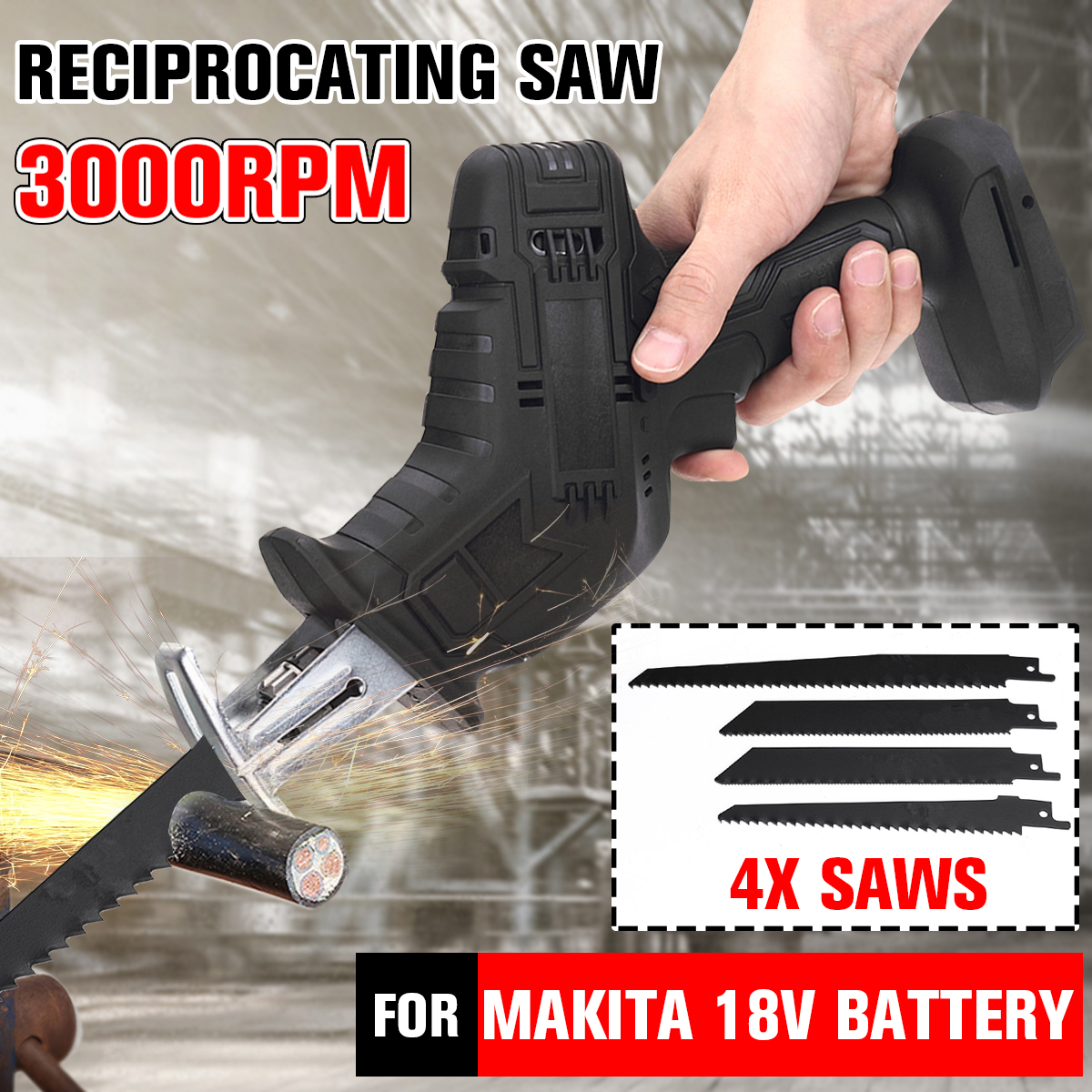 18V Cordless Reciprocating Saw Portable Electric Saw with 4 Blades Kit Metal Wood Cutting Machine for Makita 18V Battery