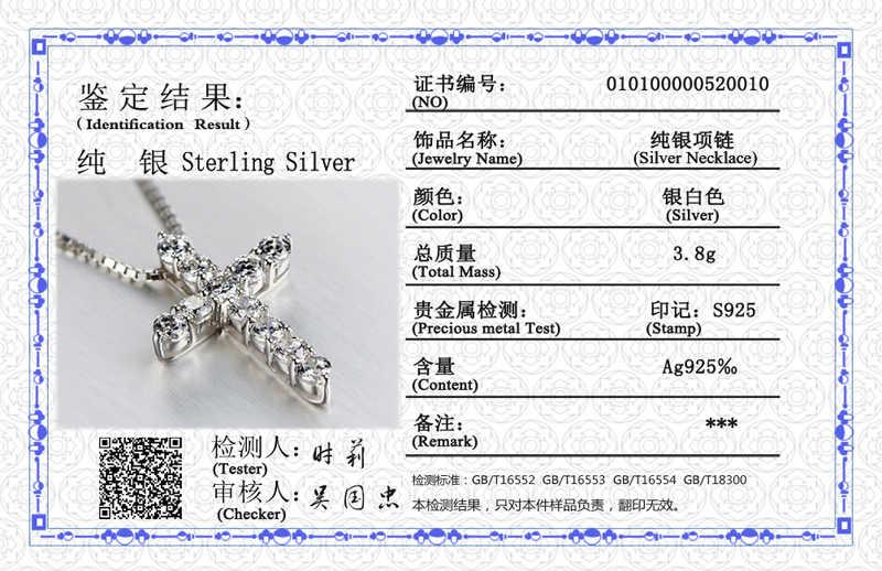 Sertifika ile 11 adet Lab elmas çapraz kolye kolye 925 ayar gümüş gerdanlık bildirimi kolye kadınlar gümüş 925 takı