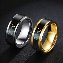 Modyle 2020 Neue Mode Schwarz Blau Gold Silber Farbe Edelstahl Temperatur Ringe Für Männer Frauen Dropshipping