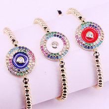 Bracelet en zircon rond avec perles en arc-en-ciel CZ pour femmes, 10 pièces