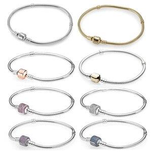 Image 1 - 100% hohe Qualität Mode Genuine Momente Gold Schnalle Armband Rose Schnalle Armband Exquisite Diy Schmuck Geschenk Für Frauen
