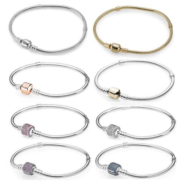 100% hohe Qualität Mode Genuine Momente Gold Schnalle Armband Rose Schnalle Armband Exquisite Diy Schmuck Geschenk Für Frauen