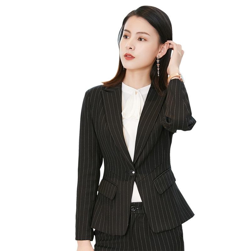 Womens Elegant 2 Pieces Set Blazer And Pant Suit Office Ladies Career Pantsuit Women Ol Work Trousers Suits Black Grey Striped
