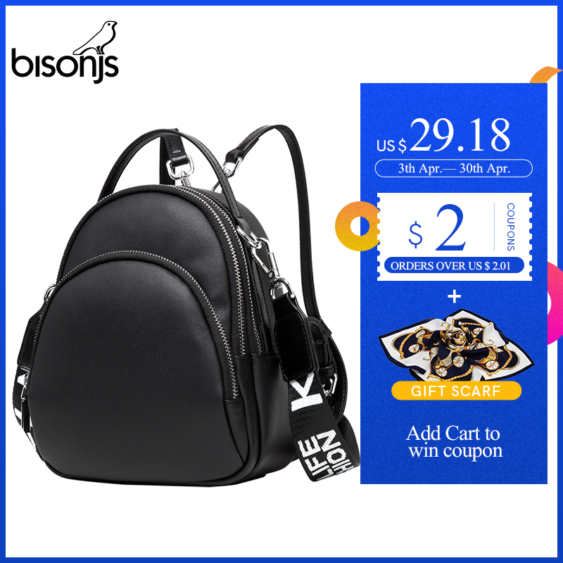 BISONJS Women Multifunction Backpack Female Cow Leather Ladies Shoulder Bags Brand Small Backpack Mochila Feminina B1553