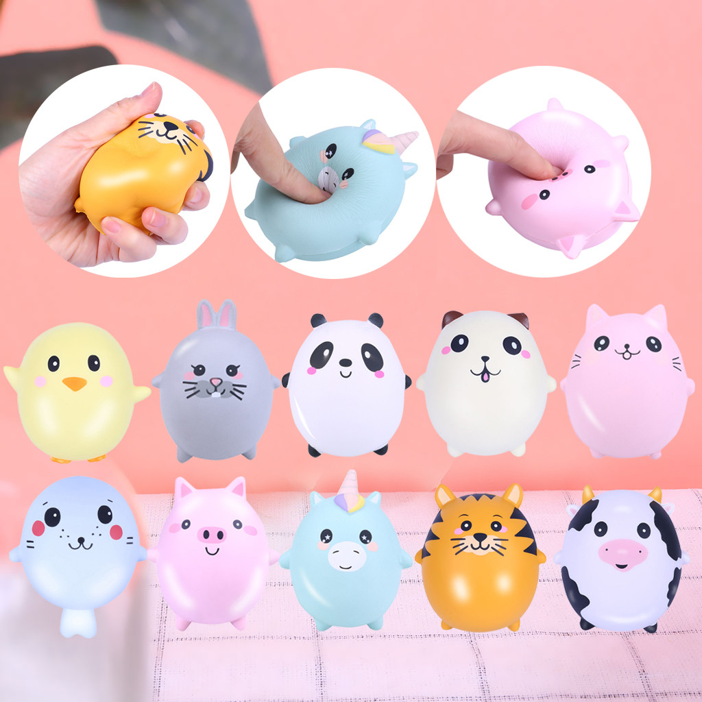Squishy Kawaii Gigantes Soft Squeeze Toys Squishy 10Pcs Adorable Animals Cream Squeeze Scented Stress Relief DollW801