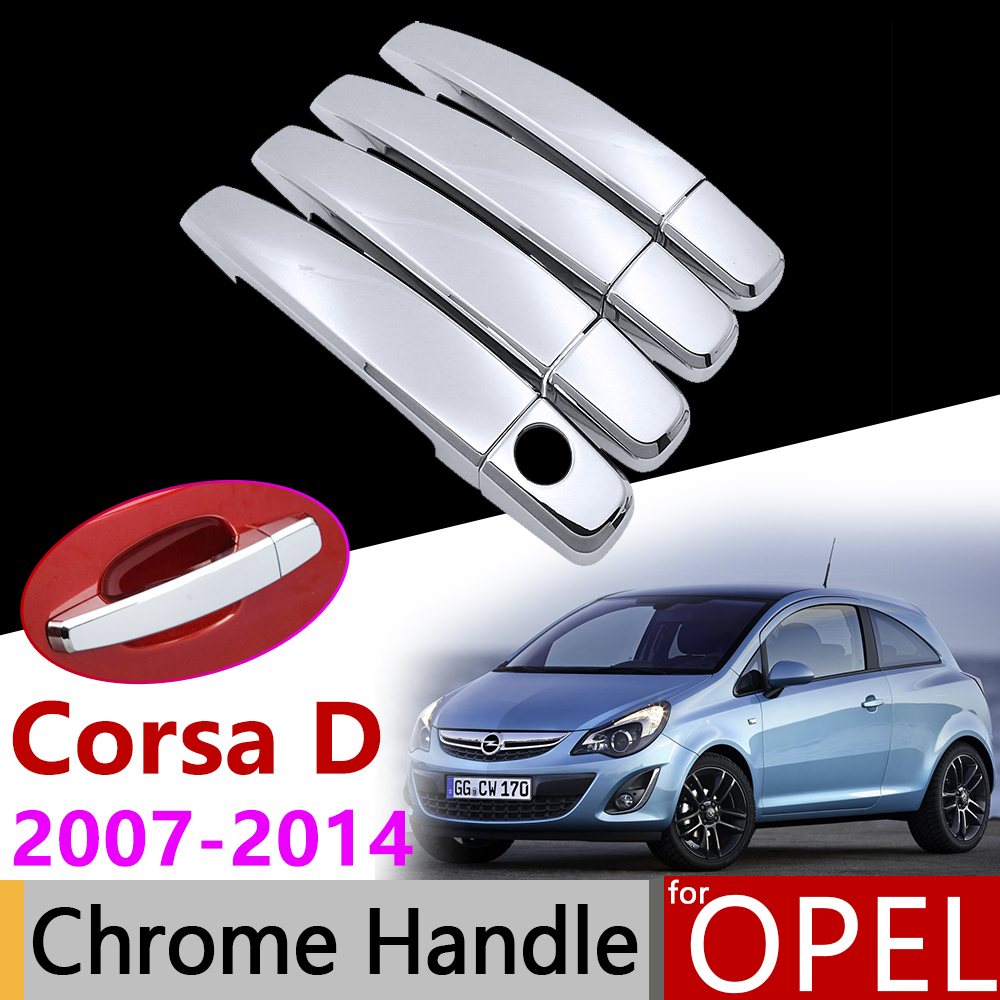 Car Accessories Exterior Door Chrome Handle Cover for <font><b>Opel</b></font> Vauxhall <font><b>Corsa</b></font> <font><b>D</b></font> 2007~2014 <font><b>2008</b></font> 2009 2011 2012 2013 Trim Set Stickers image