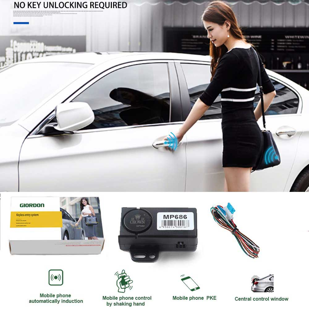 Auto Keyless Entry Smart Key Automatic Trunk Opening Start Stop Smartphone Remote Central Locking/Unlock Car Alarm Security