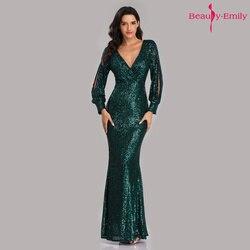 Beauty-Emily, сексуальные вечерние платья с v-образным вырезом, с блестками, с длинным рукавом, длина до пола, Русалка, официальное вечернее платье,...