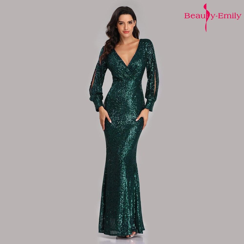 Beauty-Emily Sexy col en V paillettes robes de soirée à manches longues longueur de plancher sirène formelle robe de soirée robes de bal Vestido de noche