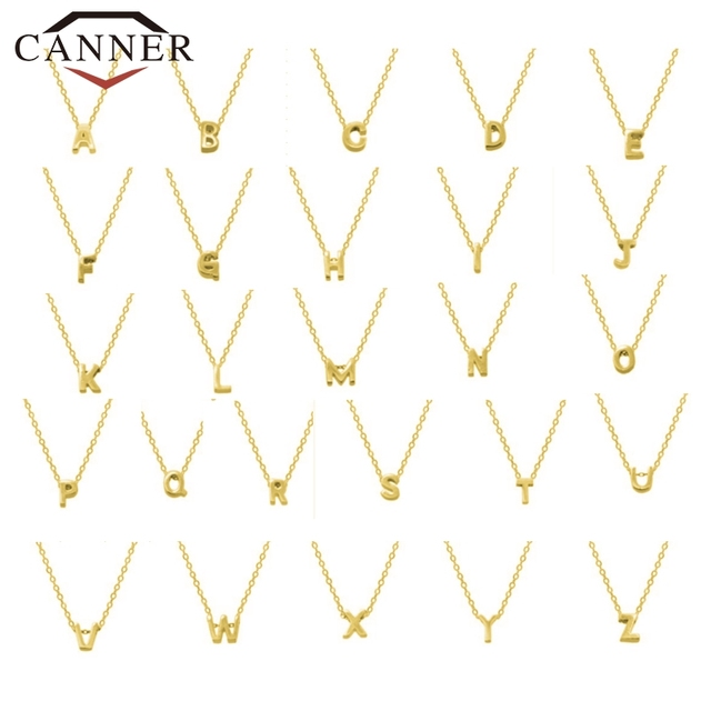 CANNER Real 925 Sterling Silver 26 Letter Round Choker Necklace For Women European and American Minimalist Fine Jewelry 4